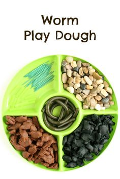 Worm Play Dough Invitation for Kids with pretend worms from the fishing section, pebbles, toothpicks and playdough. Spring Activities, Activities For Kids, Creative Activities, Creative Play, Playdough Activities, Playdough Slime, Preschool At Home, Preschool Ideas, Sensory Play