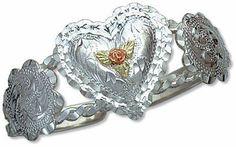 Landstroms Sterling Silver Cuff Bracelet with Large Heart, Black Hills Gold Rose & Leaves - 07288SS Landstroms Original Black Hills Gold. $175.53