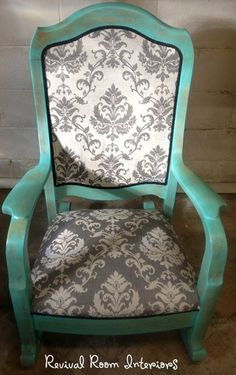 Beautiful, Professional, Refinished & Reupholstered Antique Solid Oak Rocking Chair. $329.00, via Etsy.