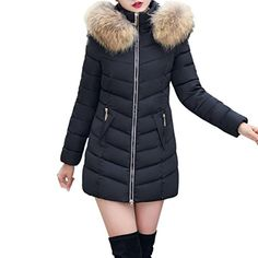 Faionny Womens Jacket Blazer Long Thick Parka Warm Slim Overcoat Solid Windbreaker Autumn Winter Outwear Best Winter Coats for Women USA Sweat Shirt, Women's Puffer, Best Winter Coats, Winter Outfits For Girls, Winter Jackets Women, Fur Trim, Faux Fur, Large Black, Women's Jackets