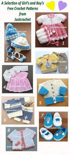 A selection of free baby crochet patterns.