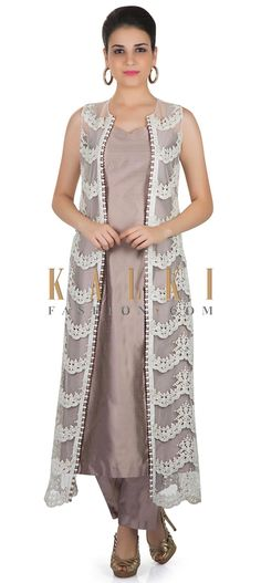 Grey Dupion Silk Top and Pant Featuring Fancy Net Jacket Crafted with Moti and Lace only on Kalki