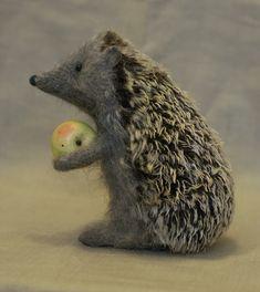 Stuffed Animals by Natasha Fadeeva - hedgehog with apple
