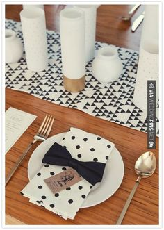 So cool! - love the table runner - black, white and gold party decor