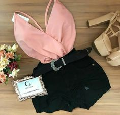 Preto e rosa Hehehe💖🖤💖🖤💖🖤💖🖤 Cute Casual Outfits, Cute Summer Outfits, Stylish Outfits, Teen Fashion Outfits, Outfits For Teens, Girl Outfits, Mode Kpop, Jugend Mode Outfits, Night Out Outfit