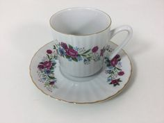Vintage Small Tea Cup Espresso Cup Floral wit by FindingYesterday