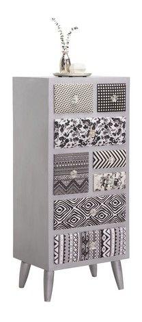Kommode mit extravagantem Design: Mustermix in Schwarz und Silberfarben