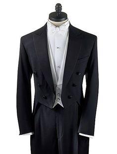 34 S Men's Black Full Dress Tuxedo Tailcoat Tux White Tie Tails Coat Satin lapel #TuxedoTailsTailcoat