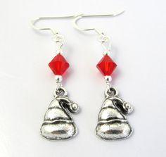 Santa Hat Earrings Christmas Earrings Holiday by BeadBrilliant, $16.00