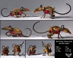 mouse and rat devil claw seed pod sculpture