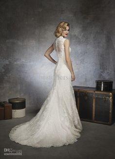 Wholesale Custom Made Elegent White keyhole Open Back Lace Mermaid 2013 Wedding Dresses JA 8656, $155.68-164.64/Piece | DHgate