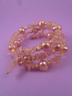 Peach Cultured Pearl, Shell Pearl, Rose Quartz Wire Wrapped Memory Wire Bracelet £17.00