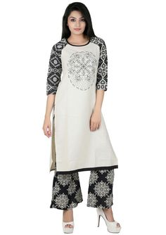 Off White and Black Cotton Linen Kurti