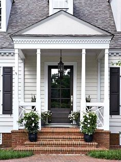 CURB APPEAL – another great example of beautiful design. Schofield Residence with a traditional exterior by Linda McDougald Design and Postcard from Paris Home. Porch Steps, Paris Home, House Exterior, Front Door, Modern Farmhouse, Farmhouse Front, Brick Steps, Front Porch Design, Brick Porch
