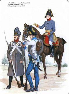 Austrian; Infantry 1813. L to R Grenadier in greatcoat German Regiment, Grenadier Hungarian Regiment & Fusilier Field Officer German Regiment.