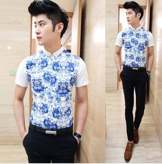 Man 2014 Hot Style Flower Shirt Slim Asian Men Clothing Unique Splicing Charming Shirt Cheap Factory Price $23.88