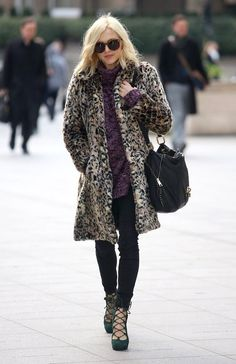 Fearne Cotton in a purple jersey, skinny jeans, long leopard print coat and forest green suede tie-up heels