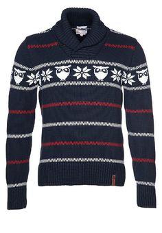 Pullover Owl Cross-Neck Knit bleu Knowledge Cotton Apparel