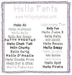 Free Fonts: {Hello Fonts} in One Bundle Download - Jen Jones (Hello Literacy) - TeachersPayTeachers.com