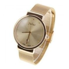A unisex gold watch from Julius Watch with single calendar.  List Price: Rs. 3,784 Our Price: Rs. 2,867 You Save: Rs. 917 (24%)