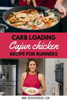 Carb Loading Cajun Chicken Pasta Recipe - The Runner Beans Healthy Meals For One, Healthy Summer Recipes, Healthy Recipes For Weight Loss, Healthy Breakfasts, Healthy Snacks, Cajun Chicken Recipes, Long Runs, Spiralizer Recipes, Perfect Food