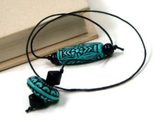 Book Thong Beaded Bookmark Turquoise Black Book Cord by TJBdesigns