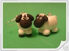 Fun Handmade Sheep Fimo Earrings.