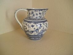 Coimbra Ceramica Portugal XVII Handpainted, Signed, Blue and White Pitcher