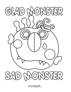 Glad Monster, Sad Monster by Ed Emberley EC3 worksheet and