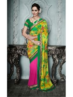 Pink N Yellow Georgette Cozy Casual Saree