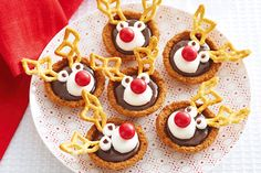Adults and kids alike will love these festive butternut snap Rudolph chocolate tarts.