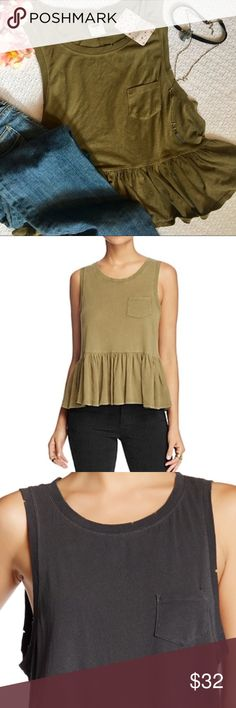 "Free People Sleeveless Peplum Top - The top is an army green color with a crew neck. Along the neck and sleeves you see little notches along the edges, that's part of the top!😊 the model in black shows it better! - Sleeveless - Front chest pocket - Peplum detail - Approx. 24"" length - Imported Free People Tops Tank Tops"