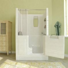 Luxurious Walk In Bathtub In The Home- Comfortable and Safety Walk in Tubs for your Bathroom - Walk In Tub Shower, Bathtub Shower Combo, Walk In Tubs, Walk In Bathtub, Home Depot, Handicap Bathroom, Bathroom Tubs, Bathroom Safety, Bathroom Images