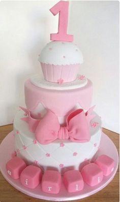 Sweet Pink And Green St Birthday Cake St Birthday Ideas - 1st girl birthday cake