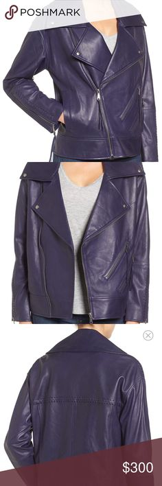 Rebecca Minkoff Brutus Leather Jacket An oversized notch collar and laced details at the back yoke and cuffs put a chic finish on a supremely soft moto jacket cut from richly colored lambskin leather. Rebecca Minkoff Jackets & Coats