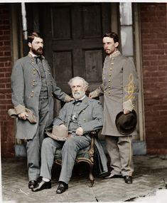 General Robert E Lee son staff Confederate Color Tinted Civil War American Civil War, American History, General Robert E Lee, Carolina Do Sul, Southern Heritage, Southern Pride, Confederate States Of America, Civil War Photos, Us History