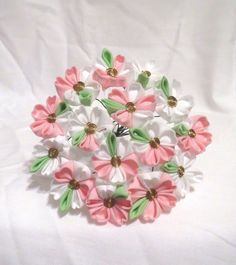 White and pink sakura kanzashi by ImlothMelui on Etsy, $50.00