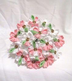 White and pink sakura kanzashi by ImlothMelui on Etsy, $50.00