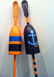 Hand-painted, two buoy custom order for a Manhattan nursery by @lilylinqs // Gloucester, MA // http://gloucestergoods.com