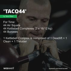 WOD - For Time: 44 Air Squats; 44 Kettlebell Complexes x kg); 1 Kettlebell Complex is comprised of 1 Deadlift 1 Clean 1 Thruster Wod Workout, Boxing Workout, Workout Kettlebell, Workout Ideas, Crossfit Motivation, Crossfit Wods, Functional Workouts, Air Squats, Chiropractic Wellness