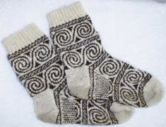 Celtic Spiral Socks - one of the oldest pattern painted and carved by prehistoric people in caves - Catherine Devine
