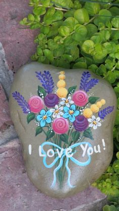 I Love You Painted Rock bouquet of flowers stone by MyPaintedSwan