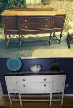 My before and after refinished buffet table project. I am so in love!! #upcycle #homedecor #repurpose