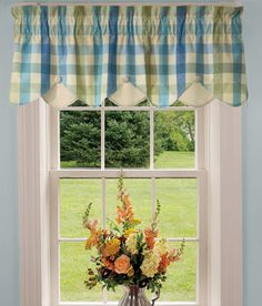 Bedroom valances over lace sheers.  Country Curtains.