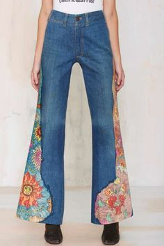 Vintage Libra Fever Hand Painted Flare Jeans