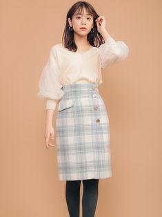 着用色:クリームイエロー/モデル身長:171㎝ Denim Skirt, Work Wear, High Waisted Skirt, India, Womens Fashion, Skirts, How To Wear, Clothes, Collection