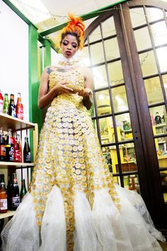gown made from bottle caps and bubble wrap