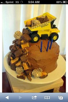 truck cakes for boys | Boys Tonka Truck Birthday Cake | Bake it Baby