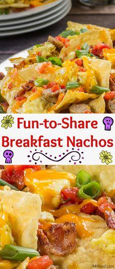 Fun-to-Share Breakfast Nachos - Recipes - Yorgo Breakfast Nachos, Breakfast For A Crowd, Fall Breakfast, Egg Recipes For Breakfast, Food For A Crowd, Breakfast Time, Brunch Recipes, Breakfast Ideas, Breakfast Skillet