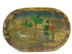 AN UNUSUAL EARLY PAINTED BRIDE'S BOX WITH FIGURES
